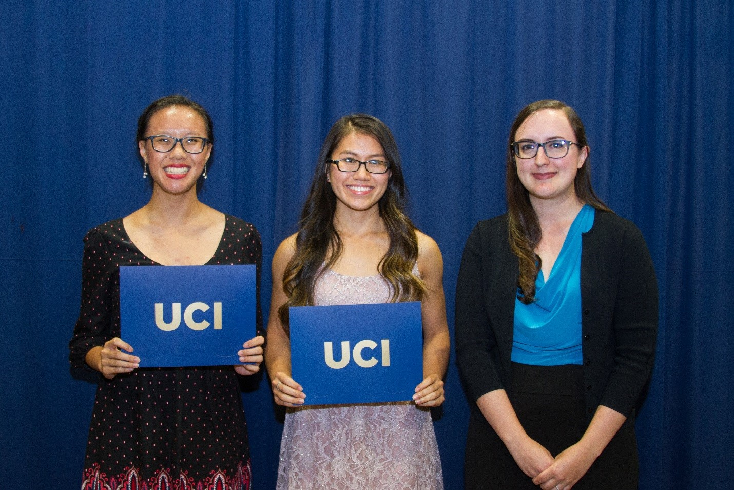 UCI Students Amber Fong and Celine Phong and UCI Libraries Education & Outreach Librarian Nicole Helregel